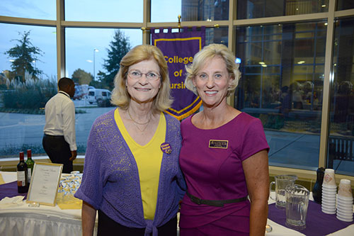 Vice Chancellor Dr. Phyllis Horns, left, with College of Nursing Dean Dr. Sylvia Brown at nursing's homecoming reception.
