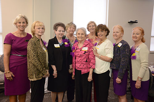 Pictured left to right with College of Nursing Dean Dr. Sylvia Brown (far left) are members of the college's first graduating class, who attended a luncheon in honor of their 50th anniversary: Selba Morris Harris, Merle Sugg Modlin, Clara Bell Smith, Donnye Barnhill Rooks, Donna S. Thigpen, Cynthia Sturdivant Kotrady, Jeanette Jones, and Jacquelyn Jones Stone.