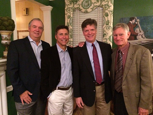 ECU Medical & Health Sciences Foundation Board Member and former General Practice Residency (GPR) Director Don Hardee and wife, Peg, hosted a reception for GPR alumni and ECU alumni dentists. Pictured (left to right): Don Hardee, DDS; Mark Kowal, DDS; Allen MacIlwaine, DDS; Gary Crawford, DDS.